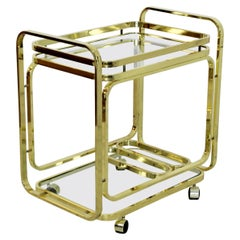 Mid-Century Modern Baughman DIA Brass 2-Tiered Rolling Serving Bar Cart 1970s