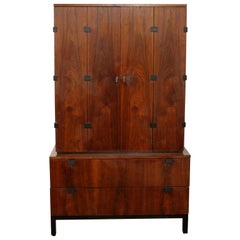 Mid-Century Modern Baughman for Directional Armoire Wardrobe Dresser Walnut Wood
