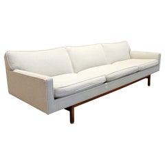 Mid-Century Modern Baughman Knoll Dunbar Style Cream Sofa on Wood Base, 1960s