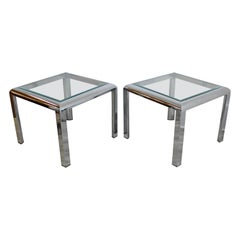 Mid-Century Modern Baughman Style Pair of Square Chrome and Glass Side Tables
