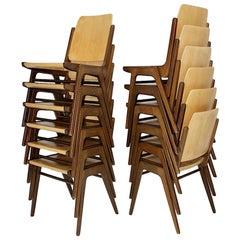 Mid-Century Modern Beech Brown Twelve Vintage Dining Chairs, Franz Schuster