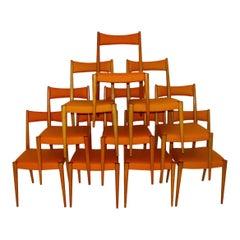 Orange Mid-Century Modern Vintage Beech Dining Chairs Anna Lülja Praun, Austria