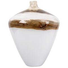 Mid-Century Modern Beige & Brown Urn Shaped Murano Art Glass Vase, Italy, 1979