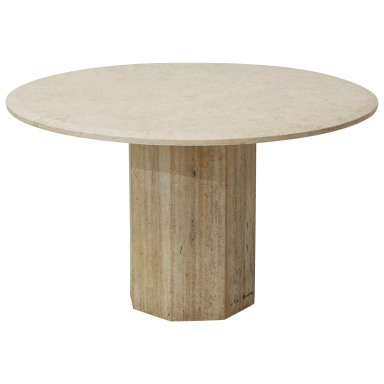 Mid-Century Modern Beige Travertine Round Dining Table, Center Table or Gueridon For Sale