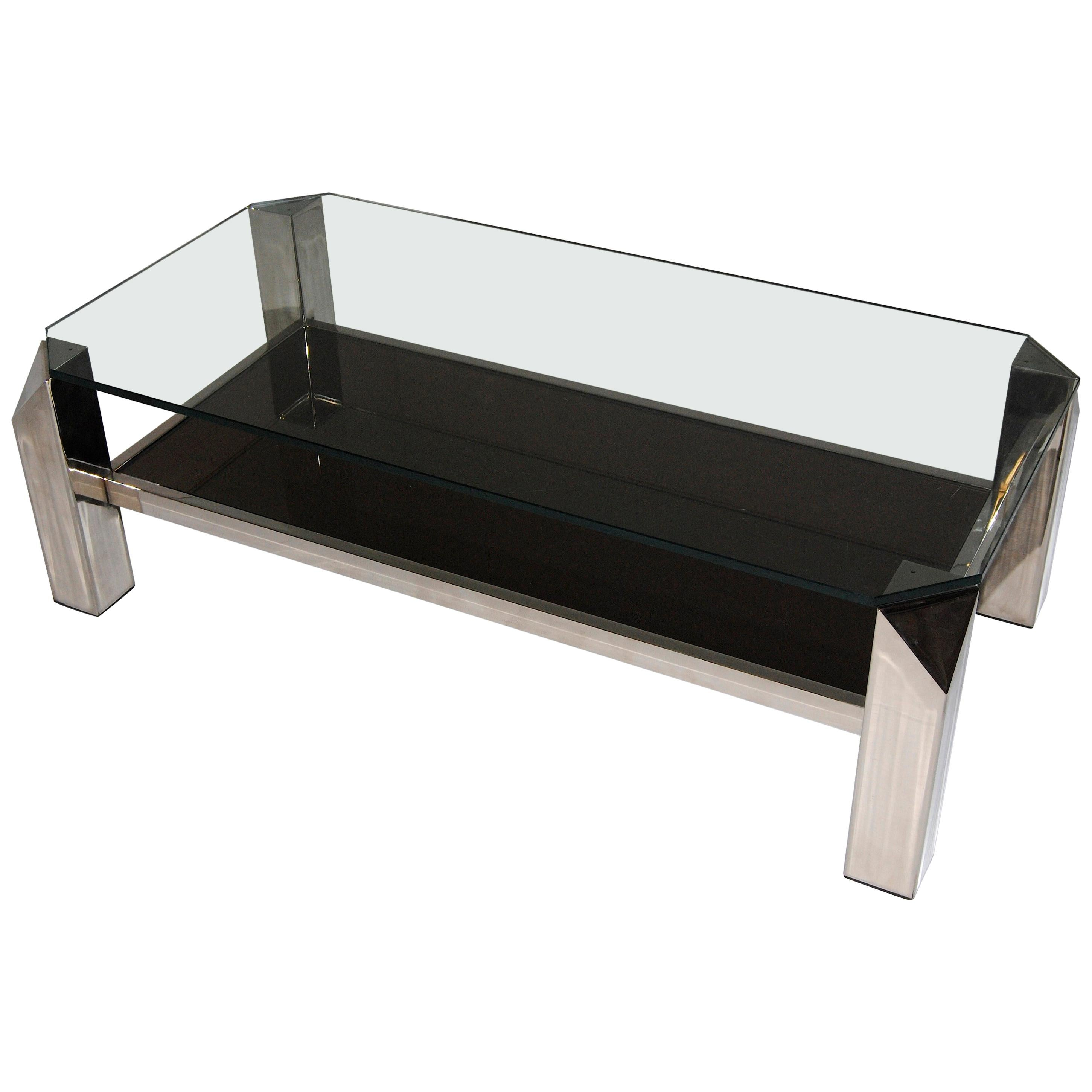 Mid-Century Modern Belgian Coffee Table with Glass Top by Belgo Chrom, 1970s