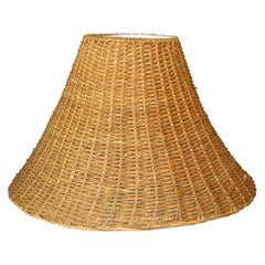 Mid-Century Modern Bell Handwoven Rattan, Wicker White Lined Fabric Lamp Shade