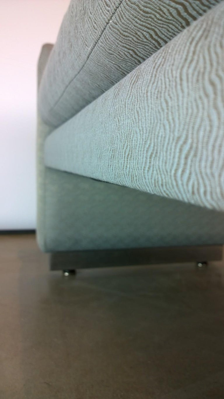 Mid-Century Modern Milo Baughman Newly Upholstered Bench with Chrome Base For Sale 4