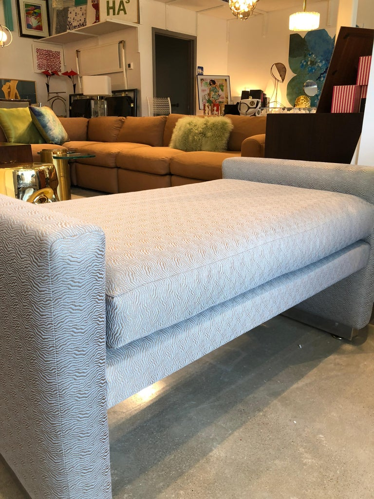 Mid-Century Modern Milo Baughman Newly Upholstered Bench with Chrome Base For Sale 5