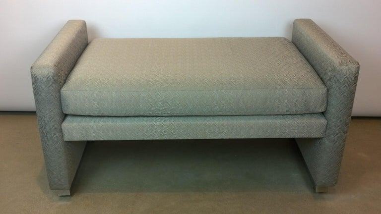 American Mid-Century Modern Milo Baughman Newly Upholstered Bench with Chrome Base For Sale
