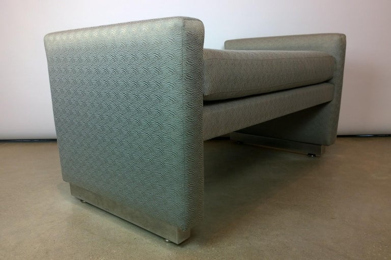 20th Century Mid-Century Modern Milo Baughman Newly Upholstered Bench with Chrome Base For Sale