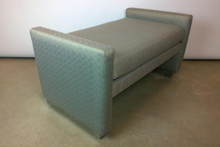 Fabric Mid-Century Modern Milo Baughman Newly Upholstered Bench with Chrome Base For Sale