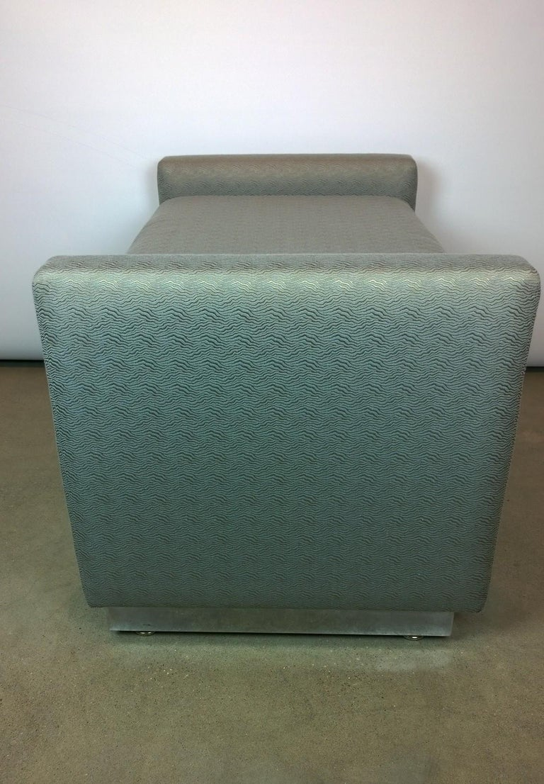 Mid-Century Modern Milo Baughman Newly Upholstered Bench with Chrome Base For Sale 3