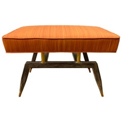 Mid-Century Modern Bench with Wood Base and Brass Supports