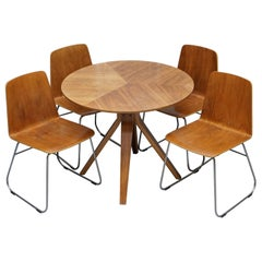 Mid-Century Modern Bent Plywood Dining Table and Four Chairs with Chrome Bases