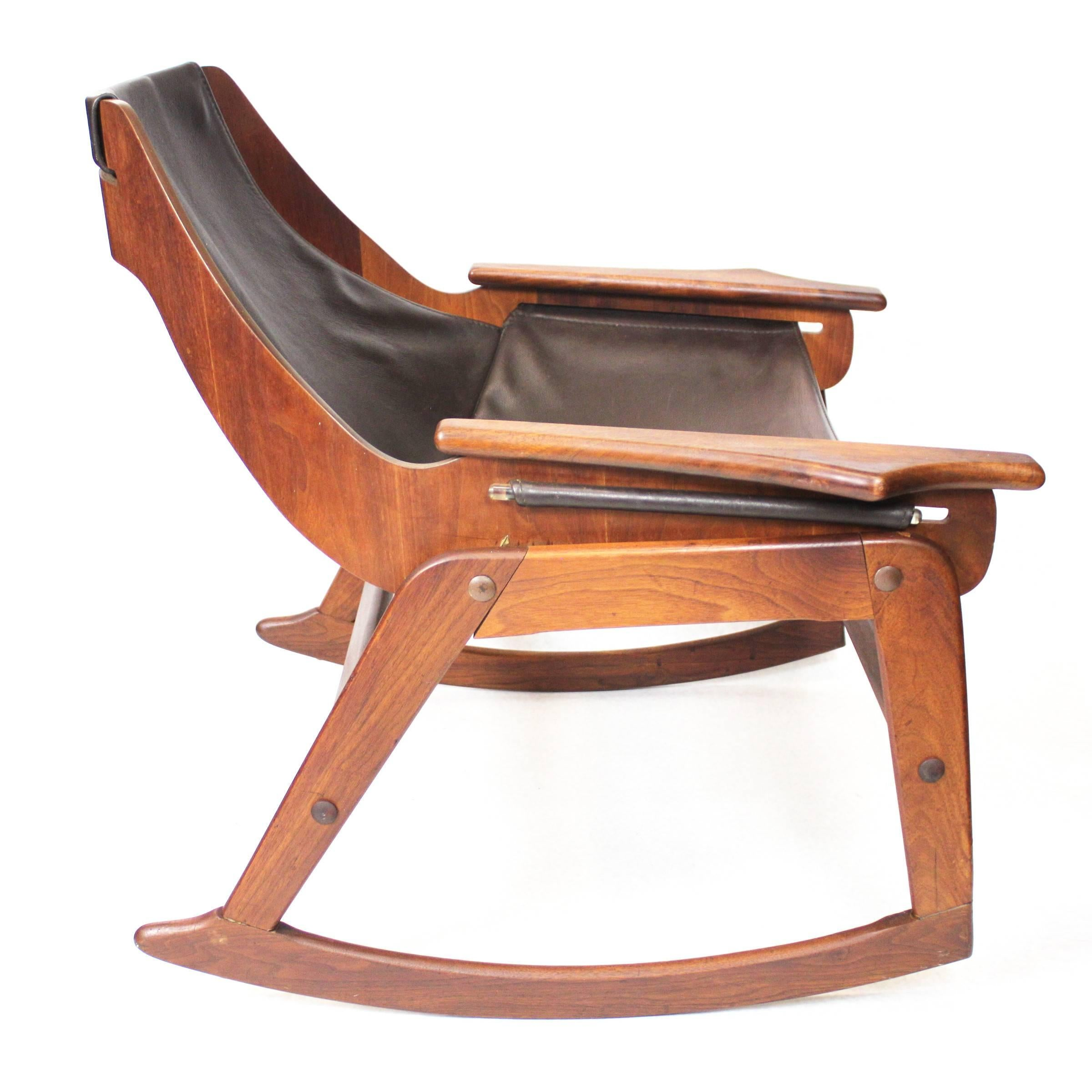 Mid 20th Century Mid Century Modern Bent Plywood Leather Sling Rocking Chair  By Jerry