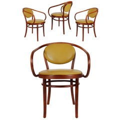 Mid-Century Modern Bent Wood B9 Armchair Dining Chairs by Le Corbusier / Thonet