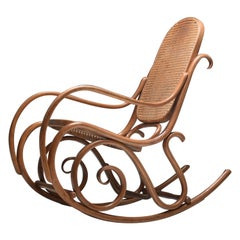 Mid-Century Modern Bentwood and Cane Rocking Chair Thonet N° 10, France, 1950