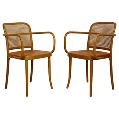 Mid-Century Modern Bentwood & Cane Pair of Prague Armchairs Hoffman for Stendig