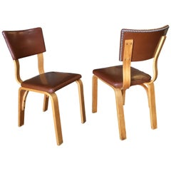 Mid-Century Modern Bentwood Side Chair Pair with Nailhead Back by Thonet