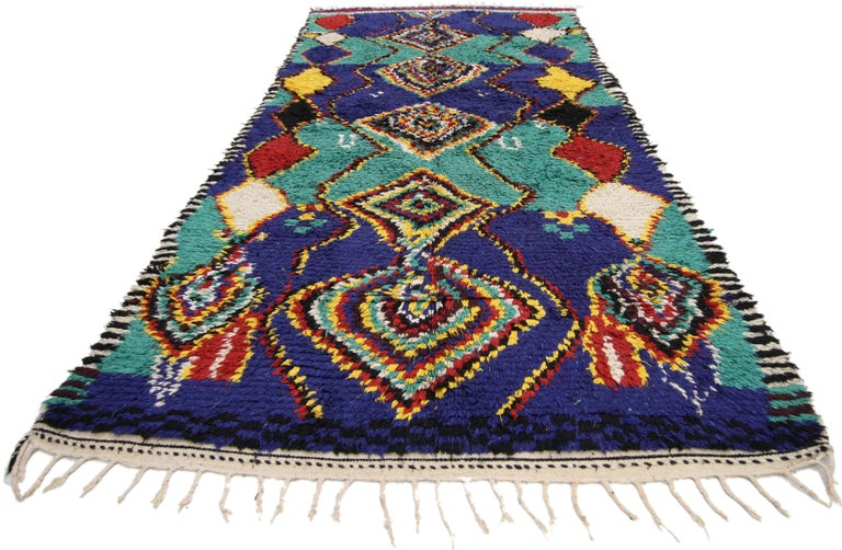 Hand-Knotted Contemporary Berber Moroccan Rug with Post-Modern Bauhaus Style For Sale