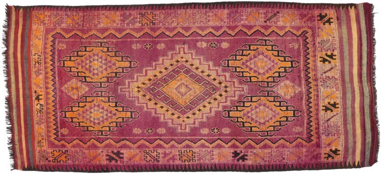 74781 Vintage Berber Moroccan Boujad Rug with Tribal Style. Bursting of Indian summer colors, tribal style, and bohemian vibes, this hand-knotted wool vintage Berber Moroccan Boujad rug is truly a magical sight to behold. It features a large center