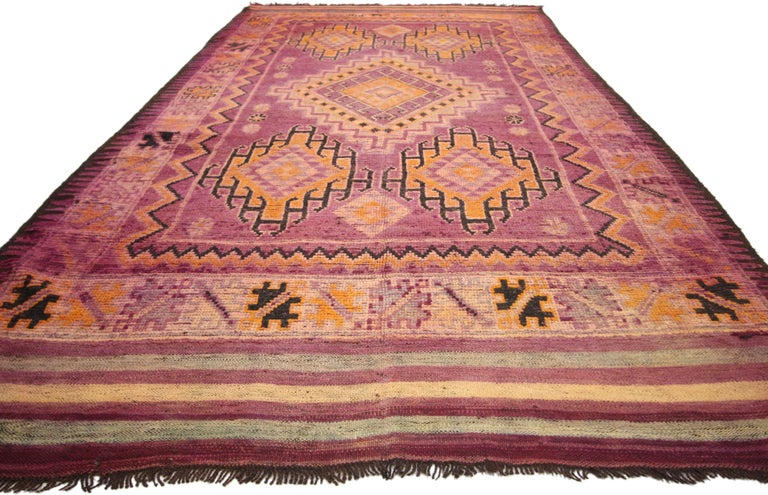 Bohemian Vintage Berber Moroccan Boujad Rug with Tribal Style For Sale
