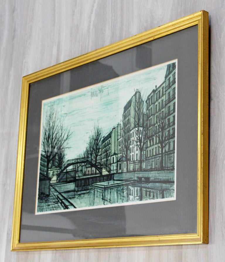Mid-20th Century Mid-Century Modern Bernard Buffet St Martins Canal 1956 French Lithograph Signed For Sale