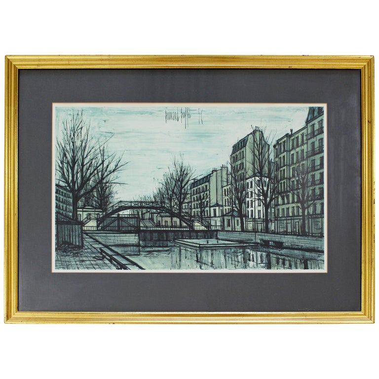 Mid-Century Modern Bernard Buffet St Martins Canal 1956 French Lithograph Signed For Sale