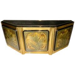 Mid-Century Modern Bernhard Rohne Mastercraft Brass Credenza Sideboard Cabinet