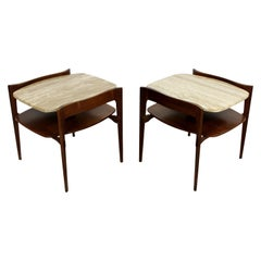 Mid-Century Modern Bertha Schaeffer Pair of Walnut Travertine Side Tables, Italy