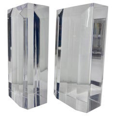 Mid-Century Modern Beveled Rectangle Lucite Bookend Set
