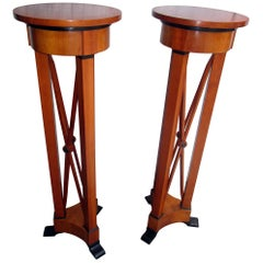 Mid-Century Modern Biedermeier Style Pedestal Stands Pair