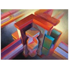 "Mid-Century Modern Bill Kohn Painting ""Venus of Mylar"" Acrylic on Canvas"