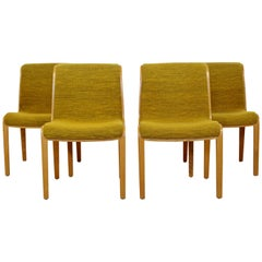 Mid-Century Modern Bill Stephens for Knoll Set 4 Blonde Wood Side Chairs, 1970s