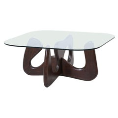 Mid-Century Modern Biomorphic Coffee Table with Glass Top