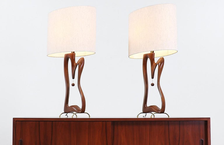 American Mid-Century Modern Biomorphic Table Lamps For Sale