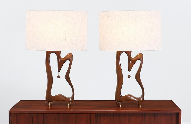 Polished Mid-Century Modern Biomorphic Table Lamps For Sale