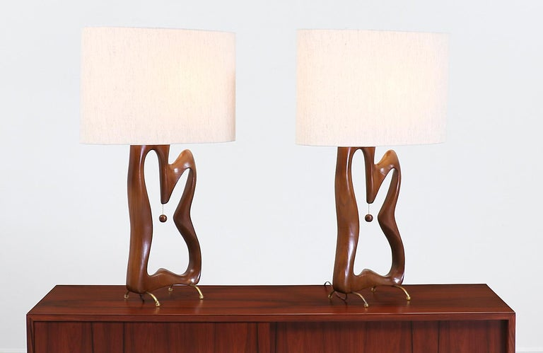 Mid-Century Modern Biomorphic Table Lamps In Excellent Condition For Sale In Los Angeles, CA