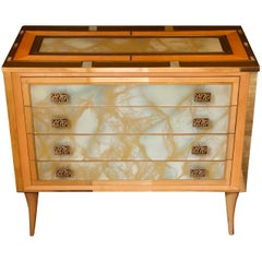 Mid-Century Modern Birch Wood & Artistic Murano Glass w/ Brass Details Commode