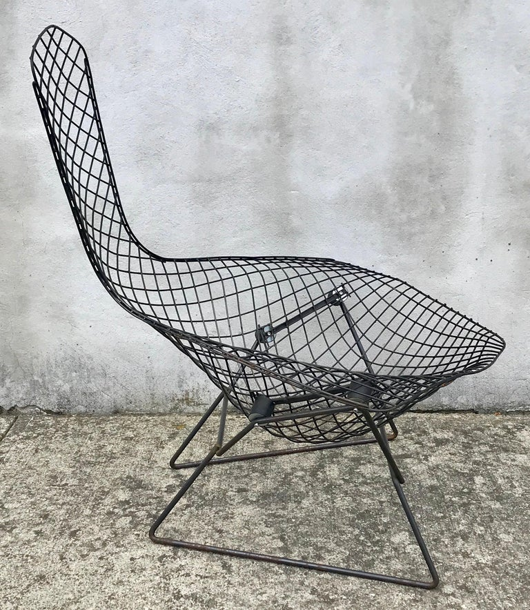 Very early production bird chair in black by Harry Bertoia for Knoll, early 1950s. Professionally cleaned but maintains its original black finish with beautiful patina throughout, new shocks.
