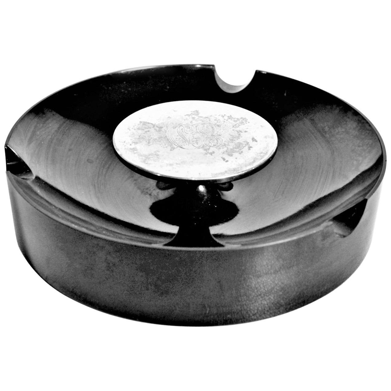 Mid-Century Modern Birks Sterling and Black Composite Cigar or Cigarette Ashtray