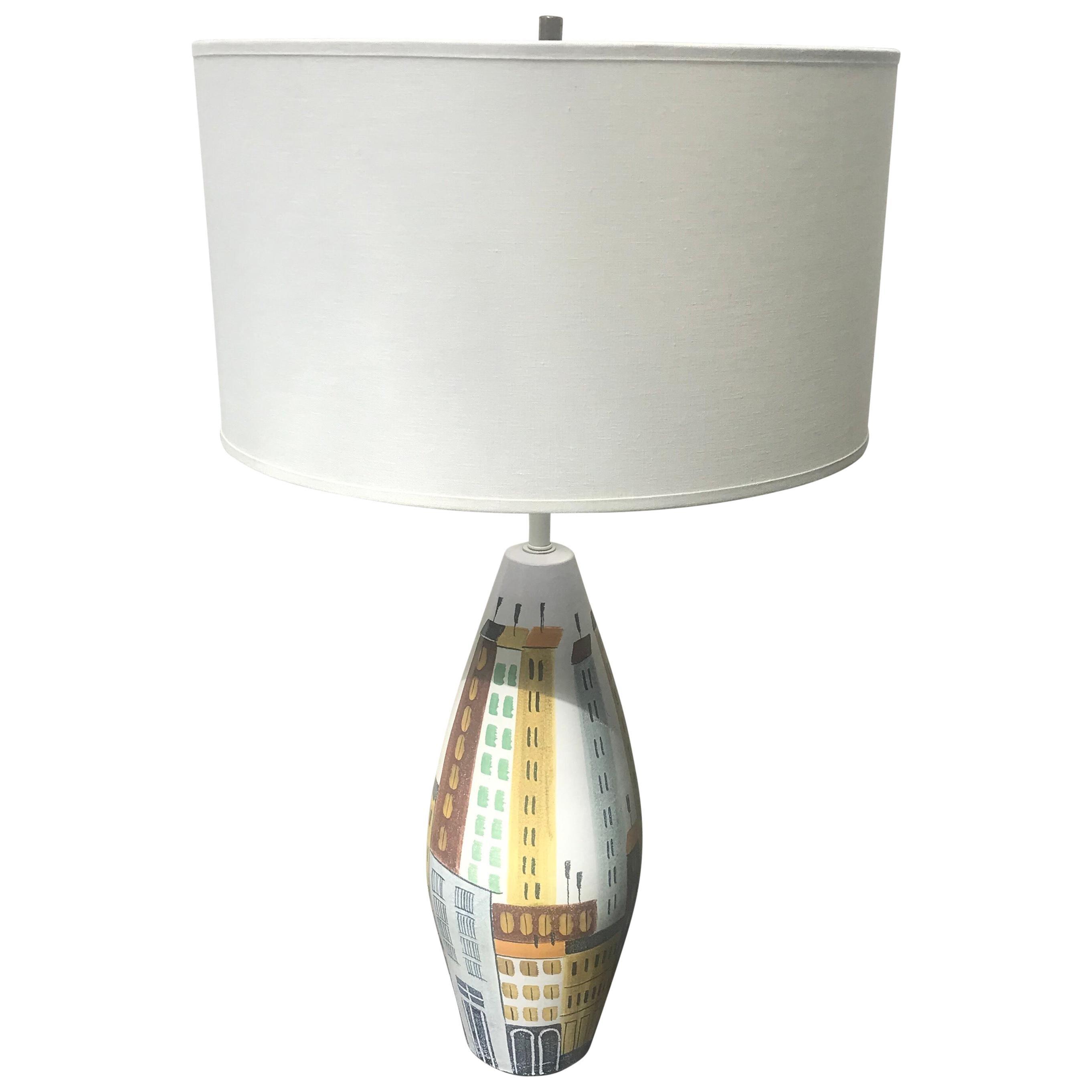 Mid-Century Modern Bitossi Ceramic Table Lamp, Cityscape, 1960s, Italy