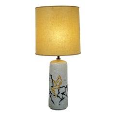 Mid-Century Modern Bitossi Ceramic Table Lamp Italian Original Brass Finial