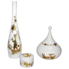 Mid-Century Modern Bjorn Wiinblad Rosenthal Porcelain Vessels, Quatre Couleurs