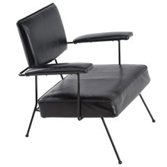 Mid-Century Modern Black Adrian Pearsall for Craft Associates Iron Armchair