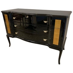 Mid-Century Modern Black and Gold Leaf Chest of Drawers, Italy