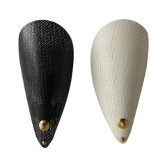 Mid-Century Modern Black and White Perforated Metal Pair of Sconces, 1950s