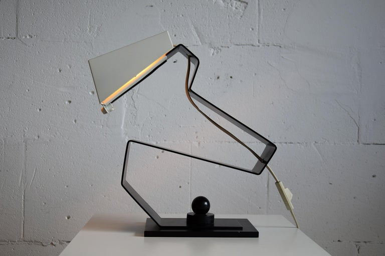 Mid-20th Century Mid-Century Modern Black and White Table Desk or Nightstand Lamp For Sale