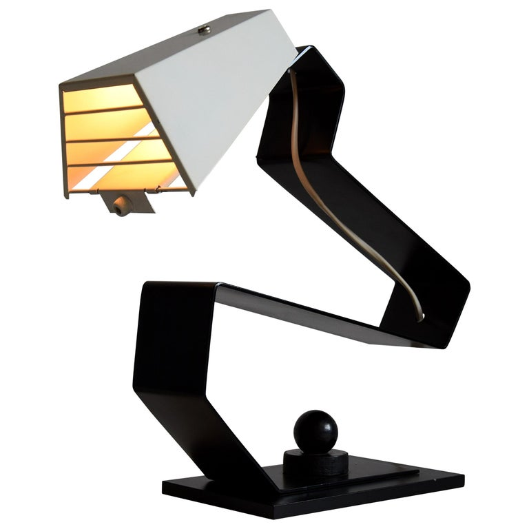Mid-Century Modern Black and White Table Desk or Nightstand Lamp For Sale