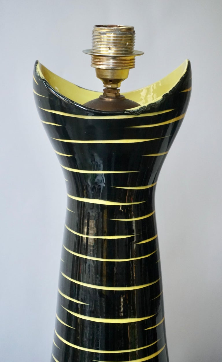 20th Century Mid-Century Modern Black and Yellow Ceramic Table Lamp, 1950s For Sale